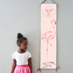 Custom/ Personalized Pink Flamingo canvas growth chart by GusAndLula. Perfect for a baby girl's nursery or big girl room!