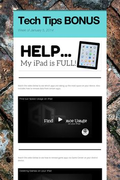 Tech Tips BONUS - HELP...My iPad is FULL!