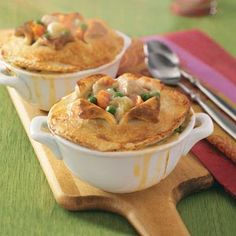 Makeover Chicken Potpies Recipe- Recipes  By using feel-good ingredients like peas, carrots and fat-free milk, you'll want to dive into this healthy and comforting pot pie on days when it's icy cold outside. —John Slivon, Milton, Florida