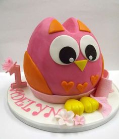 Cute owl smash cake