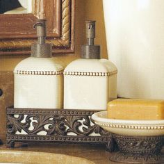Complete your French Country or Old World decorating theme with this wonderfully unique 2-piece bathroom set from the GG Collection.  Ceramic pieces are dishwasher safe.brbrliDimensions: (Tray) ...