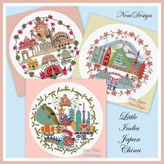 Little India Japan China package  cross stitch by NeniDesign
