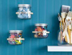 How to attach jars to walls for organizing.