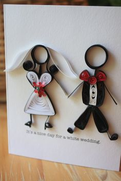 man and wife quilling its a nice day for a white wedding Quilling Dolls, Quilling Paper Craft, Paper Crafts, Paper Quilling Designs, Quilling Patterns, Quilling Ideas, Anniversaire Harry Potter, Free Wedding Invitations, Quilled Creations