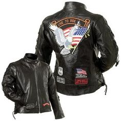 Diamond Plate™ Ladies' Rock Design Genuine Buffalo Leather Motorcycle Jacket $75
