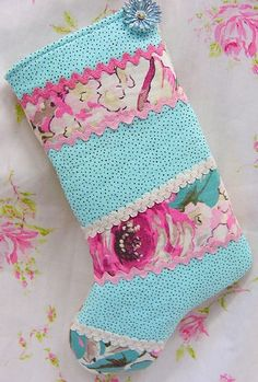 Vintage Aqua & Barkcloth Christmas Stocking