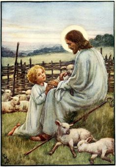 "Cicely M Barker Book Plate, Colour Illustration ""Jesus Tender Sheppard Hear Me"" Religion Wall Cicely Mary Barker, Pictures Of Christ, Religious Pictures, Bible Pictures, Lord Is My Shepherd, The Good Shepherd, Catholic Art, Religious Art, Image Jesus"