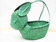 Vintage Rabbit Basket | Wicker Basket | Wicker Bunny | Rabbit Decor by WhimzyThyme on Etsy #easter #rabbit #wickerbasket #bunny