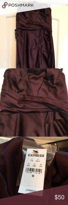 Never been worn evening dress Purple satin dress never been worn with tags Express Dresses Strapless