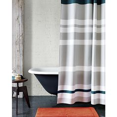 lively blue shower curtain in view all new | CB2