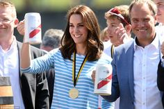 Cheers! The Duchess raises a stein after the race with the Mayor of Heidelberg, Eckart Wuerzner. She was showcasing a more casual look today after a week of show-stopping bespoke designer pieces from Jenny Packham and Catherine Walker