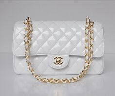 Chanel Patent Leather Flap Shoulder Bags White