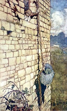 """From 'Rapunzel'. """"Grimm's Fairy Tales"""" illustrated by Arthur Rackham, 1909"""
