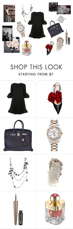 """""""Charming"""" by maria-chamourlidou ❤ liked on Polyvore featuring Goen.J, Hermès, Rolex, Chanel, Maybelline and Shanghai Tang"""