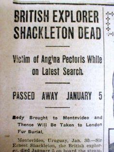 1922 Newspaper Polar Explorer Ernest Shackleton Dead Antarctic Exploration Era | eBay