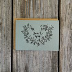 Heart Thank You Card Set Bridal Shower Thank You by ChampaignPaper