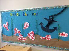 Ocean themed bulletin board in my classroom.
