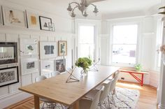 Dining room with art and splash of red from window bench [San Francisco House Tour] Dining Room Remodel, Room Makeover, Room, Dining Room Makeover, Dining, Ikea Dining Table, House Interior, Dining Room Inspiration, White Rooms