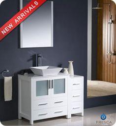 """42"""" Fresca Torino (FVN62-3012WH-VSL) Modern Bathroom Vanity w/ One Side Cabinet & Vessel Sink – White #vanities #HomeRemodel #BathroomRemodel #BlondyBathHome #Freestanding"""