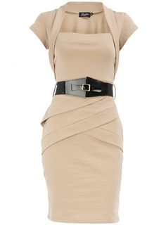 Bolero Dress in Stone with Belt