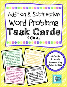 Addition and Subtraction Word Problems Task Cards for LEVELED task cards that make differentiation easy!