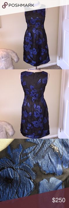 Lela Rose Dress Beautiful black sheer material with flowers that have shimmer.  Fully lined with silk beige that shows through the dress but navy against body.  Sleeveless.  Invisible back zipper.  Nice pleated detail under bust to waist.  EUC worn once.   Approx measurements flat  Pit to Pit  17.5 Waist 15 Length 38 Lela Rose Dresses Midi