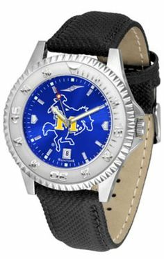 McNeese State Cowboys Competitor AnoChrome Men's Watch with Nylon/Leather Band by SunTime. $85.45. Showcase the hottest design in watches today! A functional rotating bezel is color-coordinated to compliment the NCAA McNeese State Cowboys logo. A durable, long-lasting combination nylon/leather strap, together with a date calendar, round out this best-selling timepiece.The AnoChrome dial option increases the visual impact of any watch with a stunning radial reflecti...