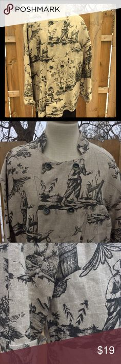 Unisex Linen Far East Top Buttons can be done on left or right side. No size tag but fits my form like a women's XL. fishing and landscape scenes. Tops Button Down Shirts