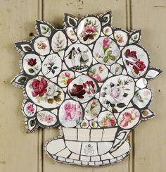 Red Roses Crockery Mosaic Wall Art by Anna Tilson £195