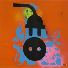 "Robert Del Naja piece first released in 2010 as part of the Heligoland artwork called ""Navigator Plug"". Massive Attack, Scrapbooks, Plugs, Screen Printing, Cool Art, Symbols, Somerset, Paper, Art Work"