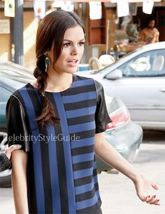 Seen on Celebrity Style Guide: Hart of Dixie Fashion: Rachel Bilson as Zoe Hart wears this blue and black striped top with contrast sleeves and zippers on Hart Of Dixie Season 3 Episode 14 - Here You Come Again  Get It Here: http://rstyle.me/n/g2dsrmxbn