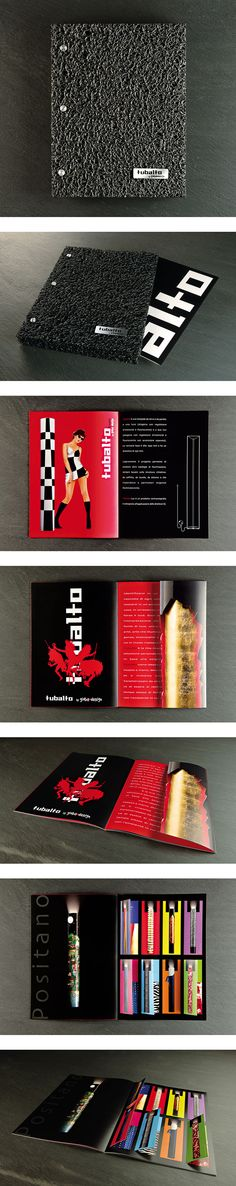 "TUBALTO BY GIOBAODESIGN  Tubalto's brochure for Giobaodesign. Here you go with a brochure we realized for Tubalto by GiobaoDesign, an hand-made collection of lamps and art-objects for your home. The box is realized with 2 layers of Nomad, the""carpet"" is by 3M, Aluminum plaque is serigraphed. Inside you can find Tubalto brochure into a cardboard file. It features several finishing off and details. Enjoy!"