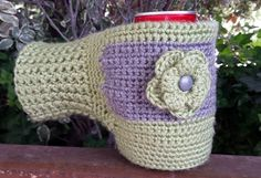 Cozy cozy - can or cup mitten. Beer, soda, coffee, hot cocoa, or water. Crochet pattern.