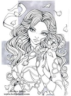 Adult Coloring Book Markers Lovely Sheherazad Inks by Kelleeart Deviantart Fairy Coloring Pages, Printable Adult Coloring Pages, Coloring Pages For Girls, Cool Coloring Pages, Coloring Pages To Print, Coloring Books, Colorful Drawings, Wicca, Sketches
