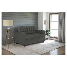 Avery Sleeper Sofa With Certipur Certified Memory Foam Mattress Twin Gray   Signature Sleep