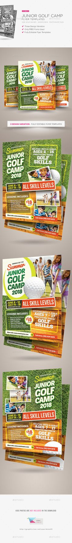Junior Golf Camp Flyer Templates  #tournament #lessons #championship • Click here to download ! http://graphicriver.net/item/junior-golf-camp-flyer-templates/15383334?ref=pxcr