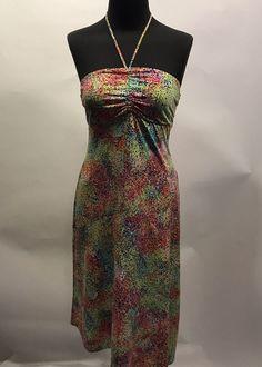 BCBG Maxazria Multi Color Dotted Print Polyester Halter Assymetrical Dress S Euc #BCBGMaxazria #StrappyAsymmetricalHemHalter #SummerBeach