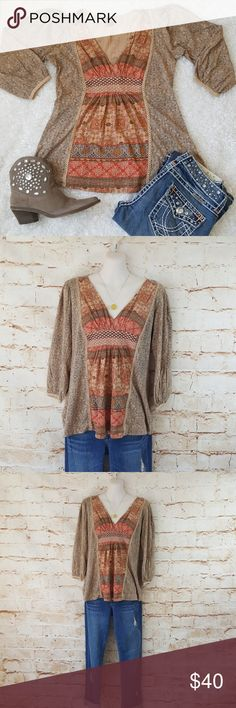 "Anthropologie Language Boho Chic top Excellent condition no flaws Anthropologie Boho Chic top with embroidery and crochet details. 20"" across from armpit to armpit and 25"" long from shoulder to hem with stretch Anthropologie Tops"