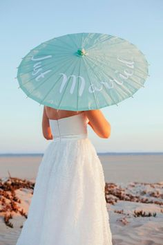 DIY Personalized Wedding Parasols by Something Turquoise