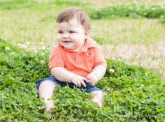 Eight Months old in the clover - Sonya Lira Photography Manvel, Texas