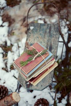 vintage books and a pine sprig on an antique sled ... beautiful Christmas vignette