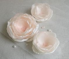 Ivory Cream Flower in handmade Bridal hair by ZBaccessory on Etsy Organza Flowers, Fabric Flowers, Flower Petals, Wedding Hair Flowers, Flowers In Hair, Handmade Flowers, Diy Flowers, Flower Hair Accessories, Flower Girl Gifts