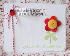Sueli Piñeiro usando sellos de Latina Crafter: Mi flor Favorita y Grama!!