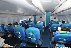 "Air Tahiti Nui Airbus A340-313E ""Poerava"" business class cabin (all aircraft later retrofitted with a newer cabin)"