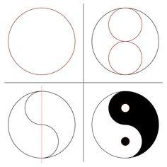 Mandala Art Lesson, Mandala Drawing, Mandala Painting, Ying Y Yang, Yin Yang Art, Yin And Yang, Easy Drawing Tutorial, Art Cd, Cute Easy Drawings