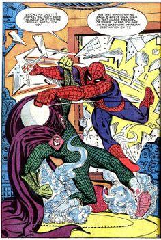 super-nerd:  Spidey vs. Mysterio - Steve Ditko #spiderman #Marvel #comics #comicbooks
