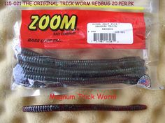 ZOOM SOFT FISHING BAITS THE ORIG. TRICK WORMS, GREAT ACTION W/ SOFT PLASTIC BODY #ZOOMBAITSTRICKWORMS