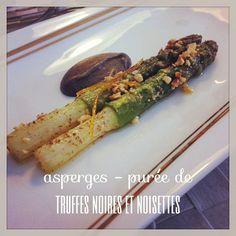 Smoked asparagus, black truffe purée, hazelnut  piedmont