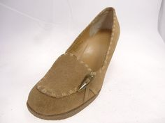 Bijou Women's Shoes Suede Wedge High Heels Beige Color  Size 9 Wide   #Bijou #Heels