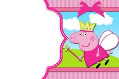 peppa pig - Buscar con Google Cupcake Invitations, Free Printable Invitations, Free Printables, My Daughter Birthday, Baby Birthday, Pig Party, Blogger Templates, Projects To Try, Fairy